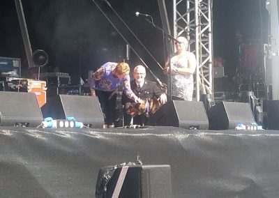 Dave and Finn on stage with Sarah